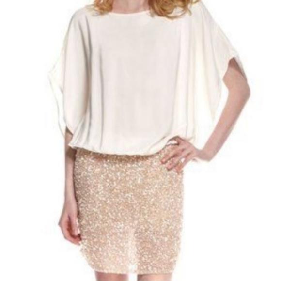 Parker Dresses & Skirts - Parker Cream Silk Batwing Dress Gold Sequin Skirt